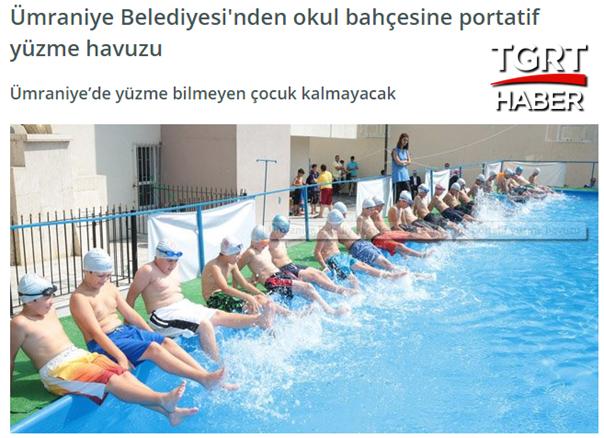 Umraniye Belediyesi Okul Bahcesine Portatif Yuzme Havuzu
